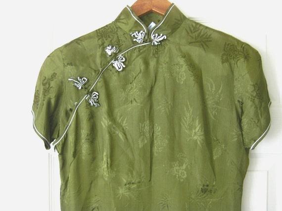 1960s Vintage Olive Green Cheongsam Mandarin Dress by Esme
