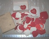 Sale Today  - Box Filled with strings of Vintage Valentine Hearts and Cards from EclecticGatherings