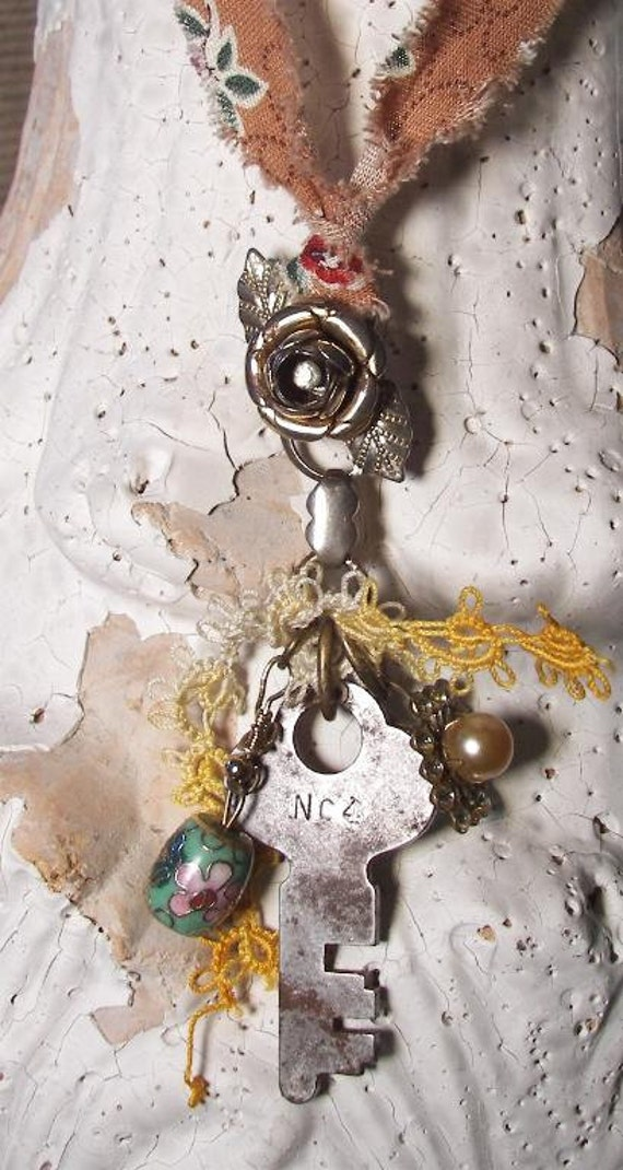 Altered Art FOUND OBJECTS Charm NeckLace Vintage Assemblage Mix Media Steampunk