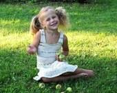 Handknit cotton dress for girl 3-5year