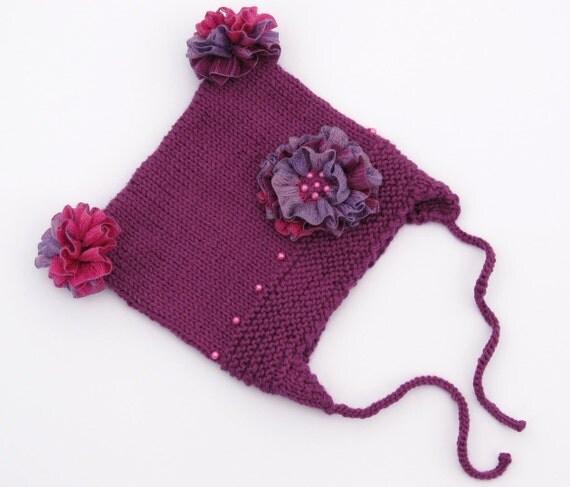Handknit hat with amusing pompoms, purple autumn toddler girls hat