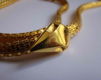 Extra Long Yves Saint Laurent Rive Gauche Necklace Golden Snake designed by Albert Elbaz