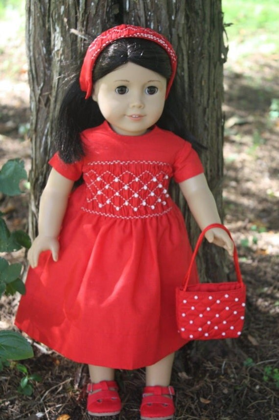 American Girl Doll Clothes - Hand-smocked Red Dress - 4 pieces