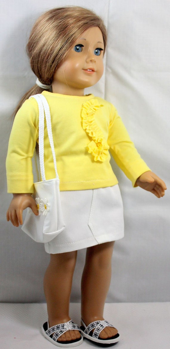American GIrl Doll Clothes-Yellow and White Shirt and Skirt Outfit including totebag