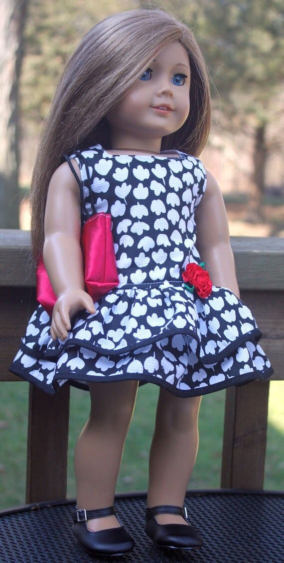 American Girl Doll Clothes-Black and White Ruffled Party Dress and Totebag