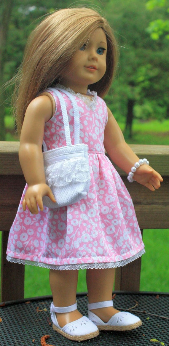 American Girl Doll Clothes-Pink Flowered Summer Dress and Totebag
