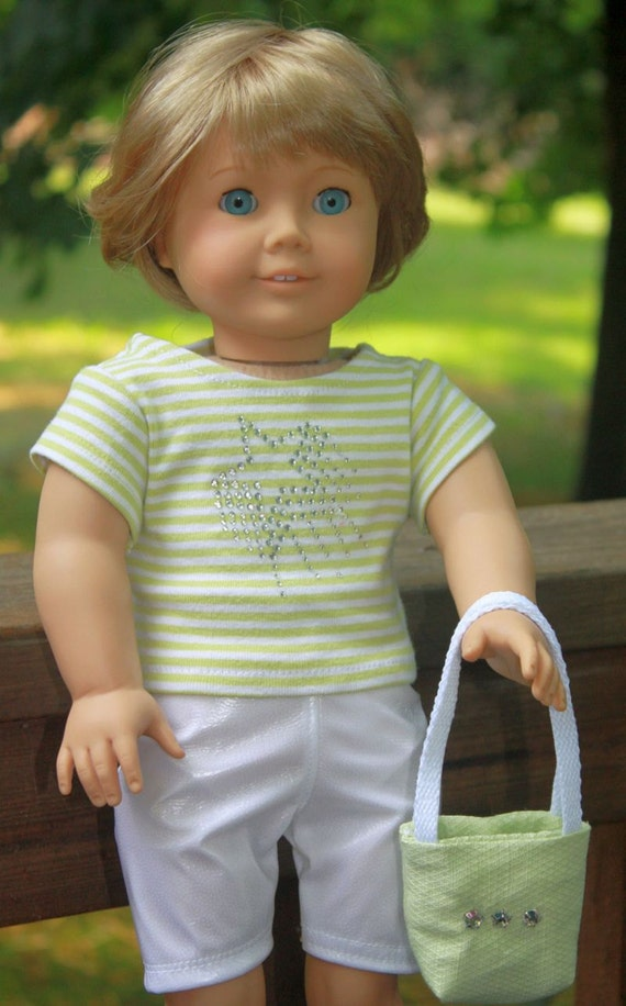 American Girl Doll Clothes, Pale Green T shirt and shorts set including totebag