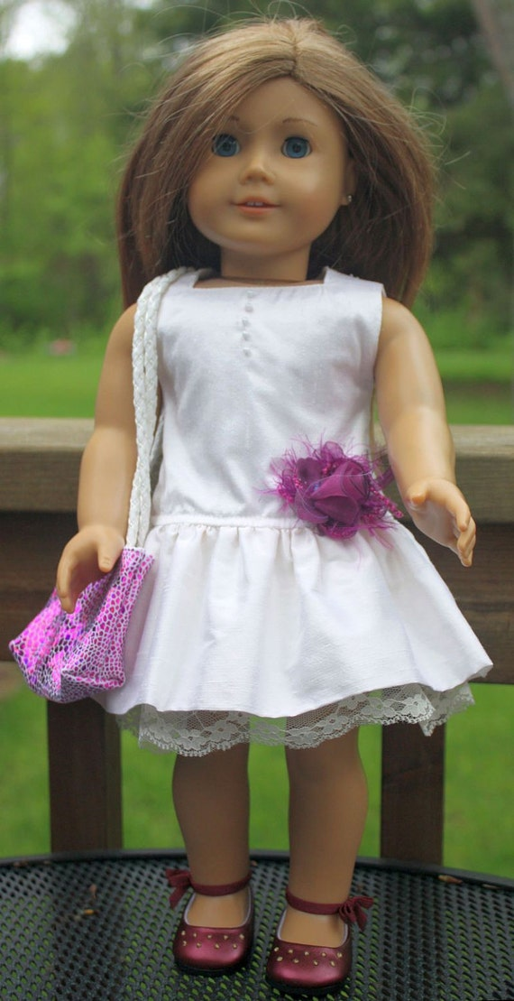 American Girl Doll Clothes-Ruffled Silk Dress and Totebag
