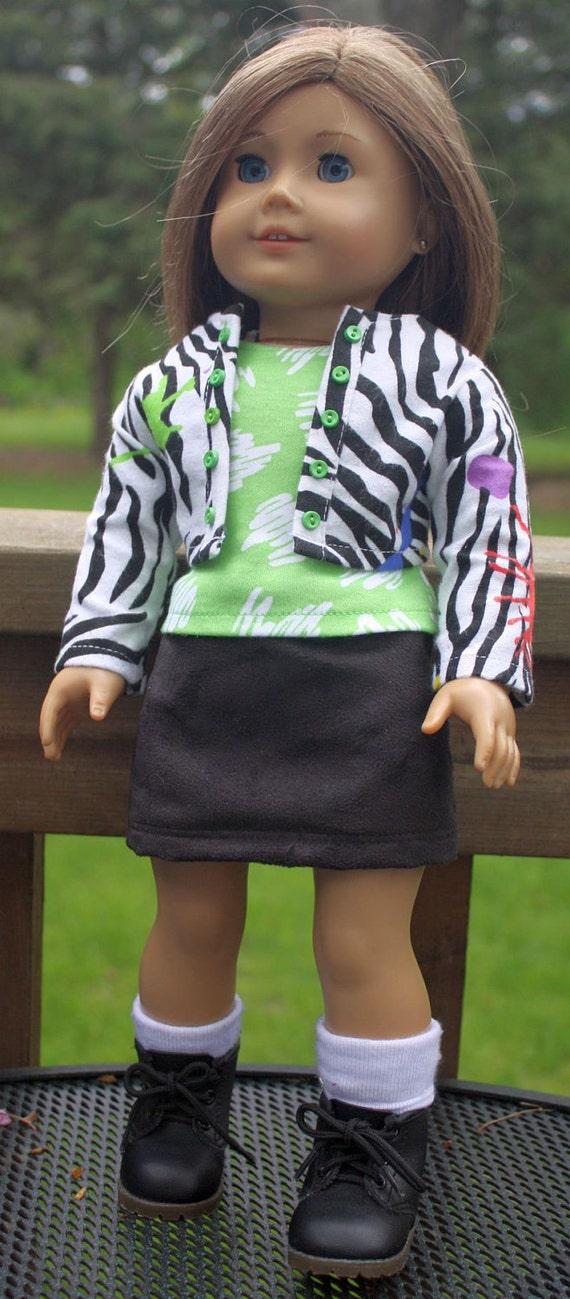 American Girl Doll Clothes-Faux Animal Print Jacket, Skirt and Tank Top