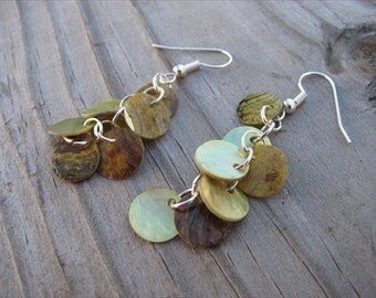 Yellow/Green Earrings- Shell Dangle Earrings