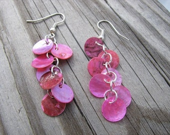 Pink Earrings- Hot Pink Shell Dangle Earrings