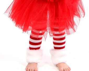 Faux Fur  Red & White Candy Cane Christmas Leg Warmers - Baby Legs-