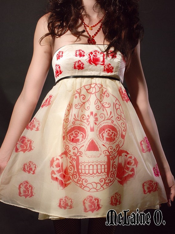 Sugar Skull Dress,  Day of the Dead Party Dress - HANDMADE