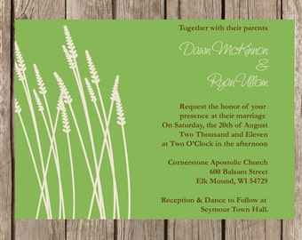 Grass Cattails Rustic Wedding Invitation customizable