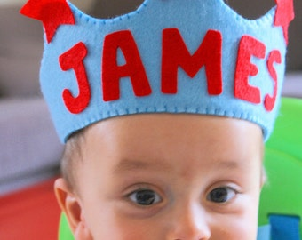 Personalized Handmade Felt Crown - Prince- Birthday Party