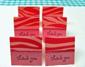 2x2 Pink Animal Print Mini Thank You Cards - 6 sets