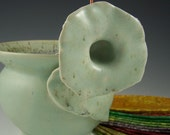 Speckled Mint Green Morning Glory Thread Pot