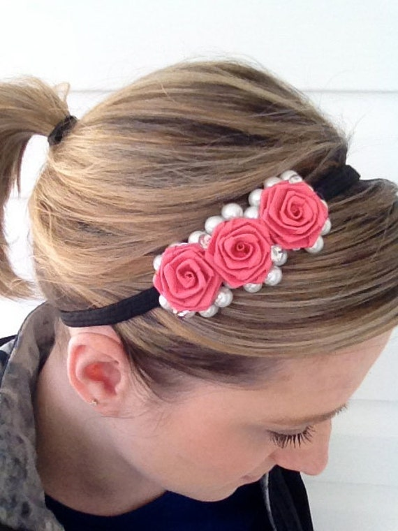 Pink and Pearls Paper Rose headband