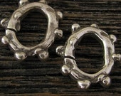 2 Large Organic Bumpy Open Ring - Links in Sterling Silver- L108