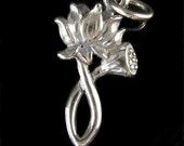 STERLING SILVER Lotus Pendant - Simple Beauty - Thousand Petal White Lotus Blossom Charm   P50