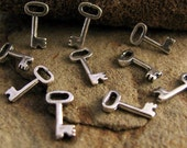 Sterling Silver Key Charms - 10 Teeny Tiny Skeleton Key Dangles and Add-Ons C21