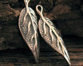 2 Organic Leaf Charms or Pendants in Sterling Silver, Oxidized Earthy Elements   C18