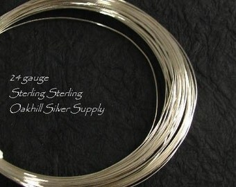 24 Gauge Sterling Silver - Round Wire-  Half Hard  20 Ft Oakhill Silver Supply - HH24S20