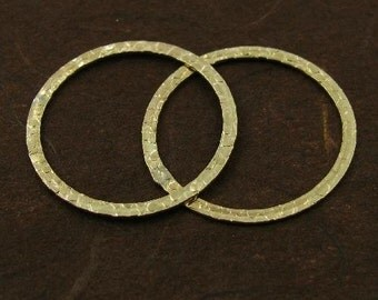 Gold Filled Textured Circle Connectors or Links  - 2 Large Circle Pendants or Earring Hoops - 20mm - L10