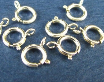 Sterling Silver Spring Ring Clasps - 6mm OPEN - 10 pcs - Top Quality - Oakhill Silver Supply SP9