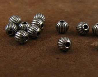Sterling Silver 3mm Round Beads - Oxidized and Corrugated 100 pcs -   MB27