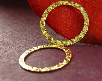 Gold Filled Textured Circle Connectors or Links 2 Pcs -  Medium to Small 15mm  L50
