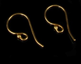 5 Pair -  24K Vermeil Gold French Hook Earwires - Classic Single Ball  - E213a