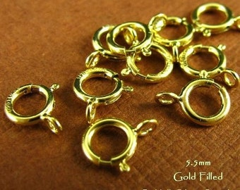 14kt Gold Filled Spring Rings - 5.5mm - Closed Ring Clasps Pick your Size Package 10 pc - 100 pc  -   SP1 SP1a SP1b SP1c
