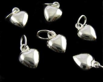 Puffed Sterling Silver Hearts - 4 Small Pendants - Charms -  Dangles   - C47