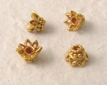 Crown of Glory - 4 Vermeil Bead Caps - Small and Fancy   6mm x 4mm  MB68V