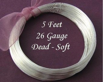 Sterling Silver Round Wire  26 Gauge  Dead Soft  Round 5 feet - DS26S5