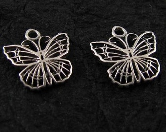 Sterling Silver Butterfly Charms or Pendants - Dainty - 10.5mm -  2 Butterflies C33