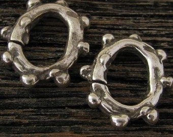 2 Large Organic Bumpy Open Ring - Links in Sterling Silver- AC63