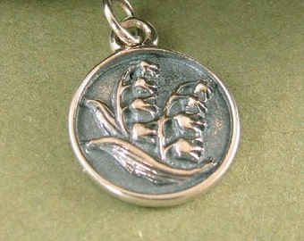 Sterling Silver Lily of the Valley Charm - Flowers of May - 1 SS Round Floral Charm - C160