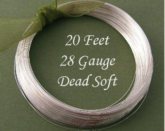 28 Gauge Sterling Silver Wire Dead Soft Round - 20FT Oakhill Silver Supply - DS28S20