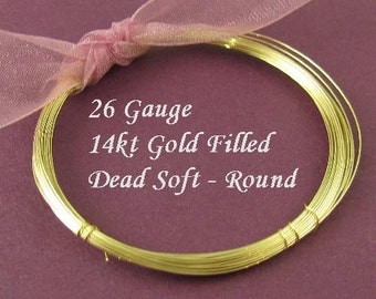 26 Gauge 14kt Gold Filled Wire Dead Soft  Round  10 Ft  - DS26GF10