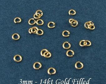 100 Pcs  3mm 14kt Gold Filled Jumprings - 22 Gauge, JR17