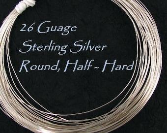 BULK Savings - 26 Gauge Sterling Silver Round Wire - Half Hard - 20 Ft HH26S20