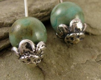Artisan Sterling Silver Flower  Bead Caps  - 2 Rustic Buttercups 8.6mm x 5.5mm. MB105