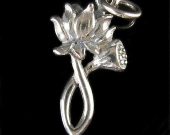 STERLING SILVER Lotus Pendant - Simple Beauty - Thousand Petal White Lotus Blossom Charm   P50