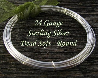 24 Gauge Sterling Silver Wire- Round- Dead Soft- 5Ft   DS24S5