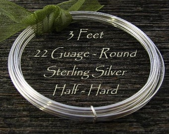 Sterling Silver Wire 22 Gauge  - Round - 3 - feet  Half Hard HH22S3