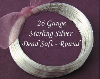Round Sterling Silver Wire - 26 Gauge - Dead Soft -  - 10 Ft - 26ga -  DS26S10