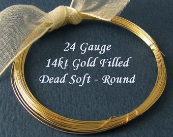 14kt Gold Filled Round Wire - 24 Gauge Dead Soft  - 10 Ft - DS24GF10