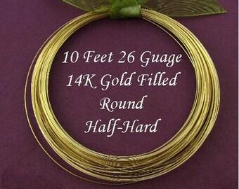 26 Gauge 14kt Gold Filled Round Wire -  Half Hard -10 Ft  - HH26GF10